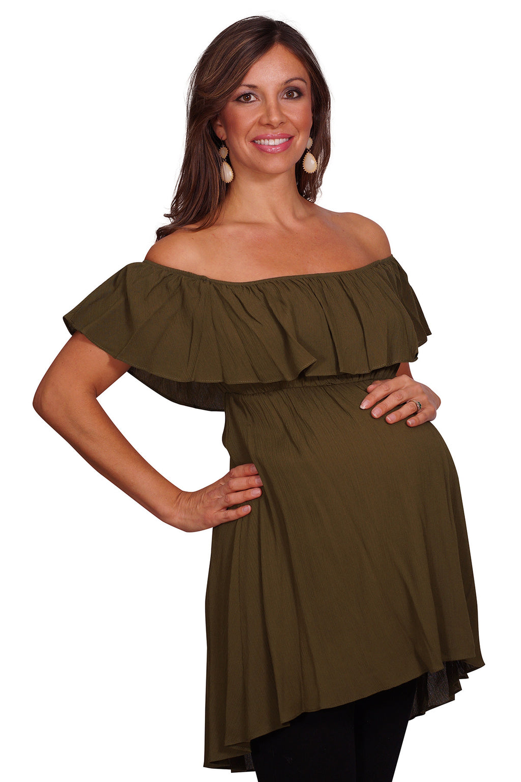 Off the Shoulder Ruffle Maternity Top