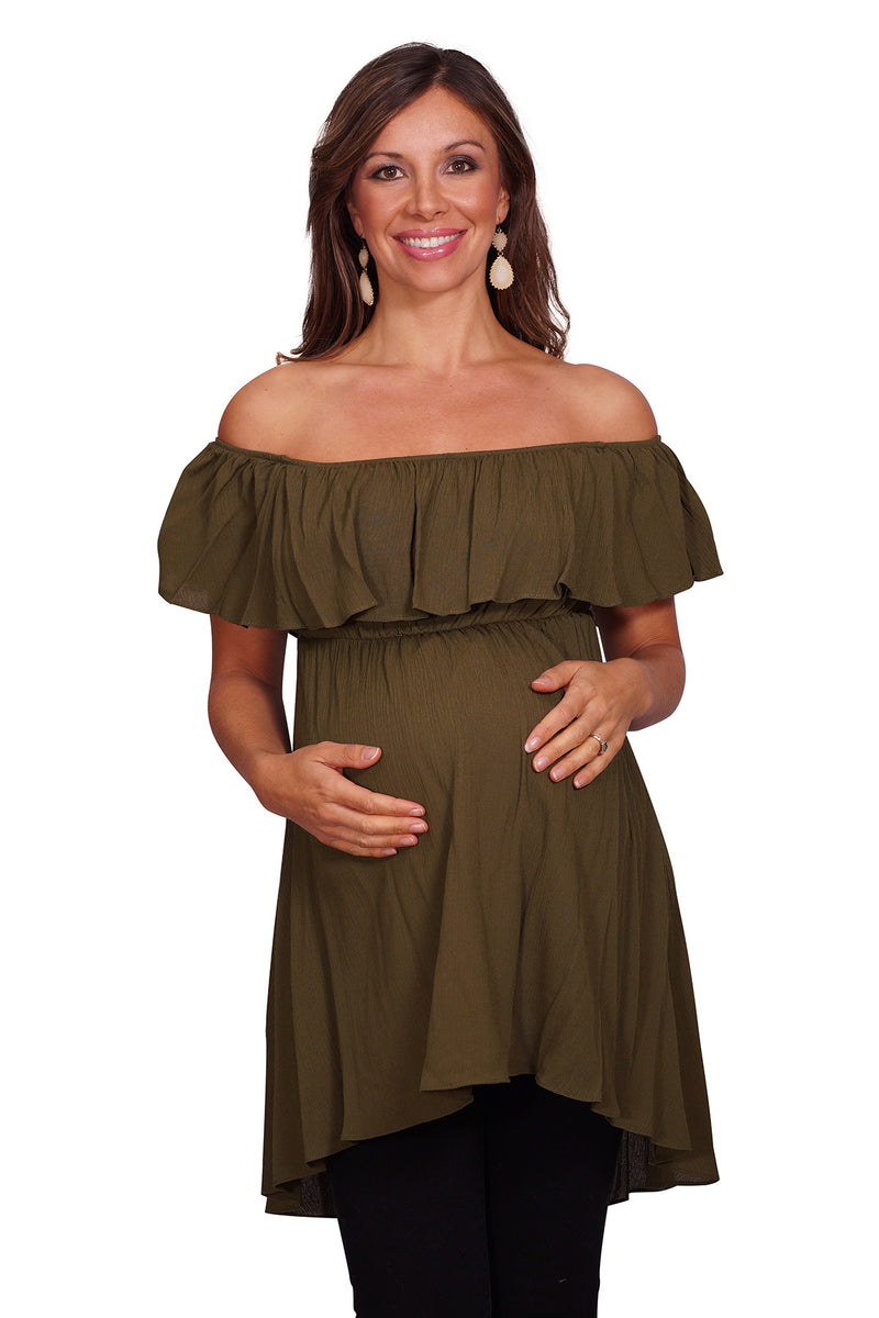 Off the Shoulder Ruffle Maternity Top - Mommylicious