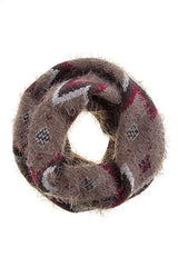Multi Color Chevron Design Fuzzy Infinity Scarf