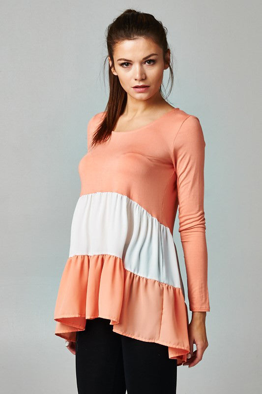 peach maternity tops