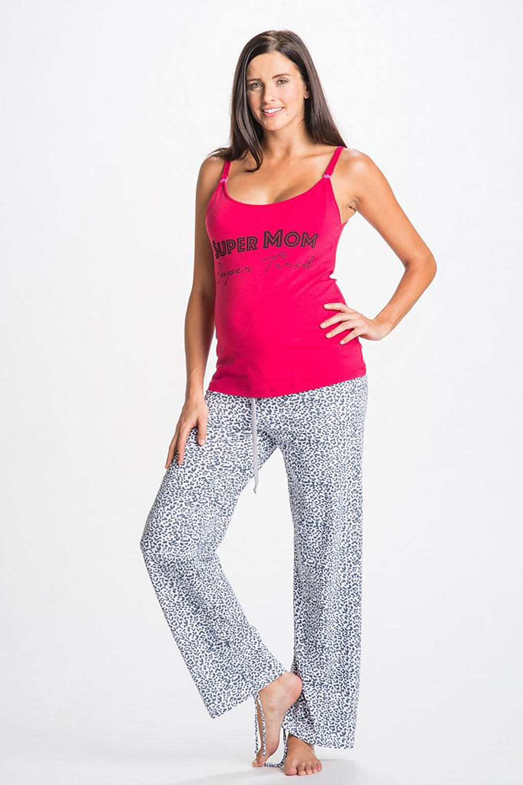 Rosette Super Mom Super Tired Maternity & Nursing Pajama Set - Mommylicious