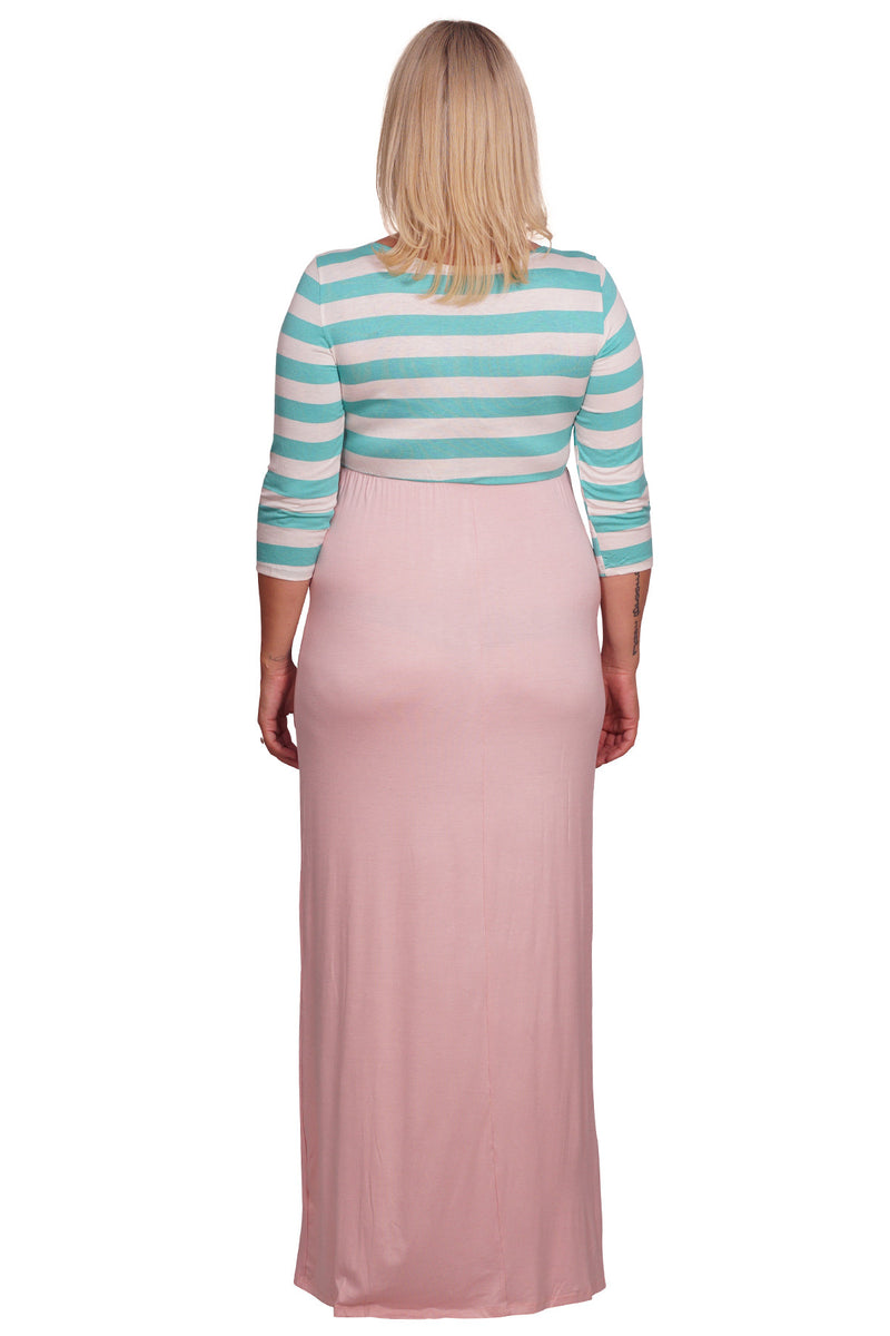 Striped and Solid Plus Maternity Maxi