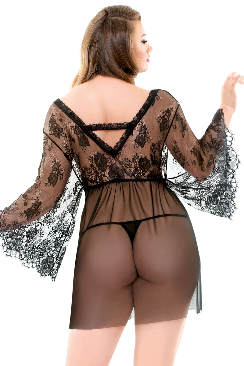 Plus Lace Robe & G-String