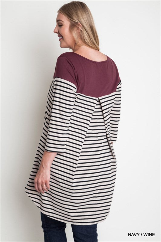 Striped Plus Size Pregnancy Shirt - Mommylicious
