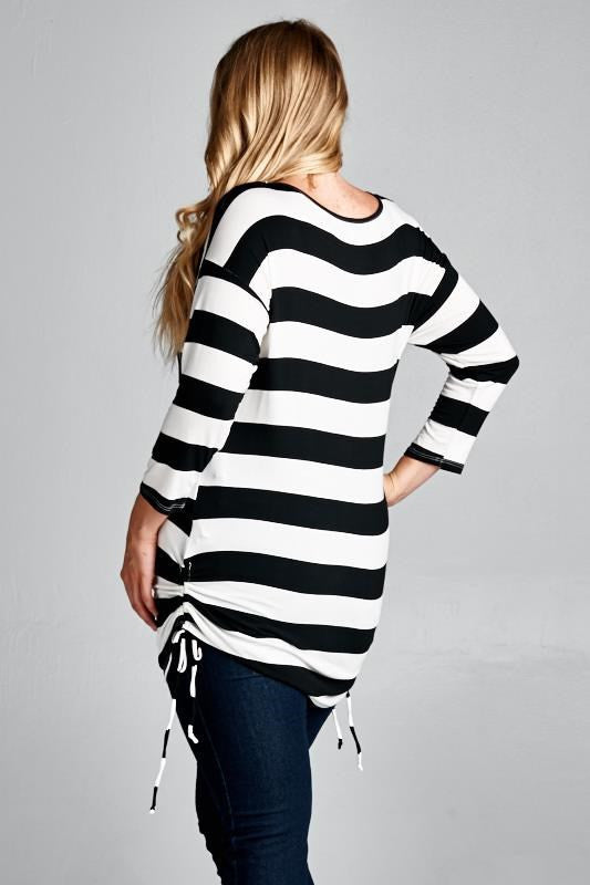 Striped Plus Size Maternity Tunic - Mommylicious