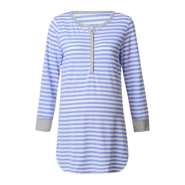Long Sleeve Striped Maternity and Nursing Nightgown