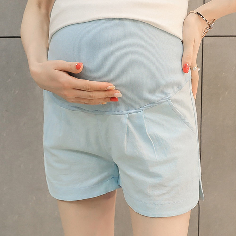 blue maternity shorts