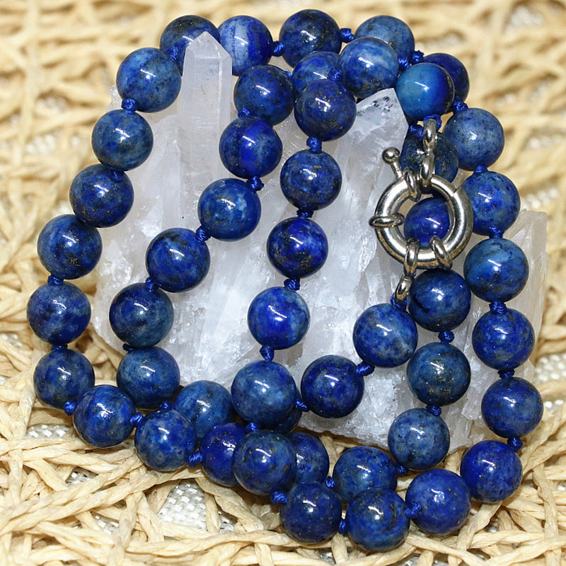 Natural Stone Blue Lapis Lazuli Beads Necklace - Mommylicious