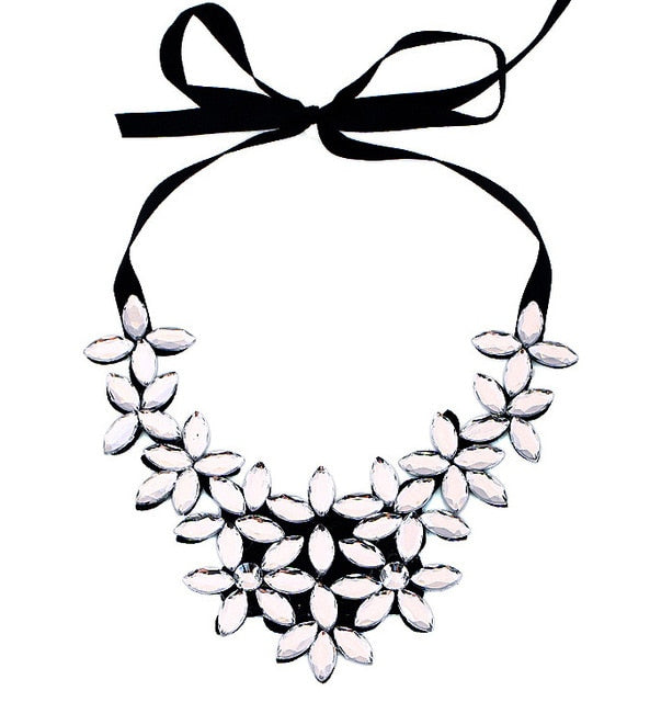 Black Rhinestone Flower Bib Necklaces - Mommylicious