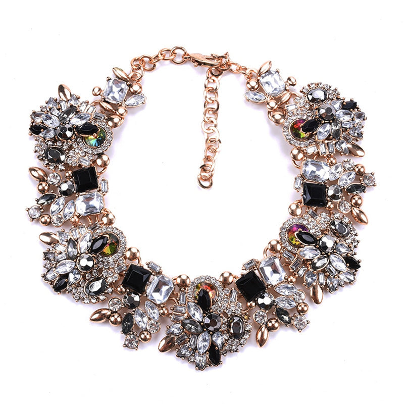 Charm Rhinestone Bib Necklace | Flower Crystal Pendants - Mommylicious