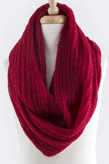 Red Skinny Cable Knit Infinity Scarf