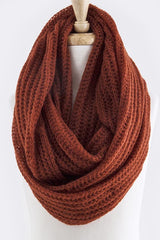 Rust Skinny Cable Knit Infinity Scarf