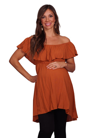 Off Shoulder Ruffle Maternity Top