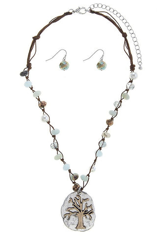 Tree Charm Semi Precious Stone Beaded Necklace Set