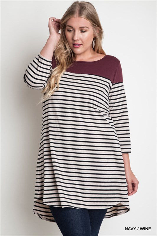 striped plus maternity tops