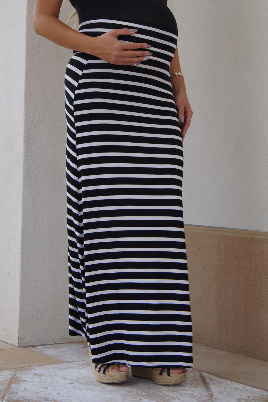 Show Your Stripes Maternity Maxi Skirt