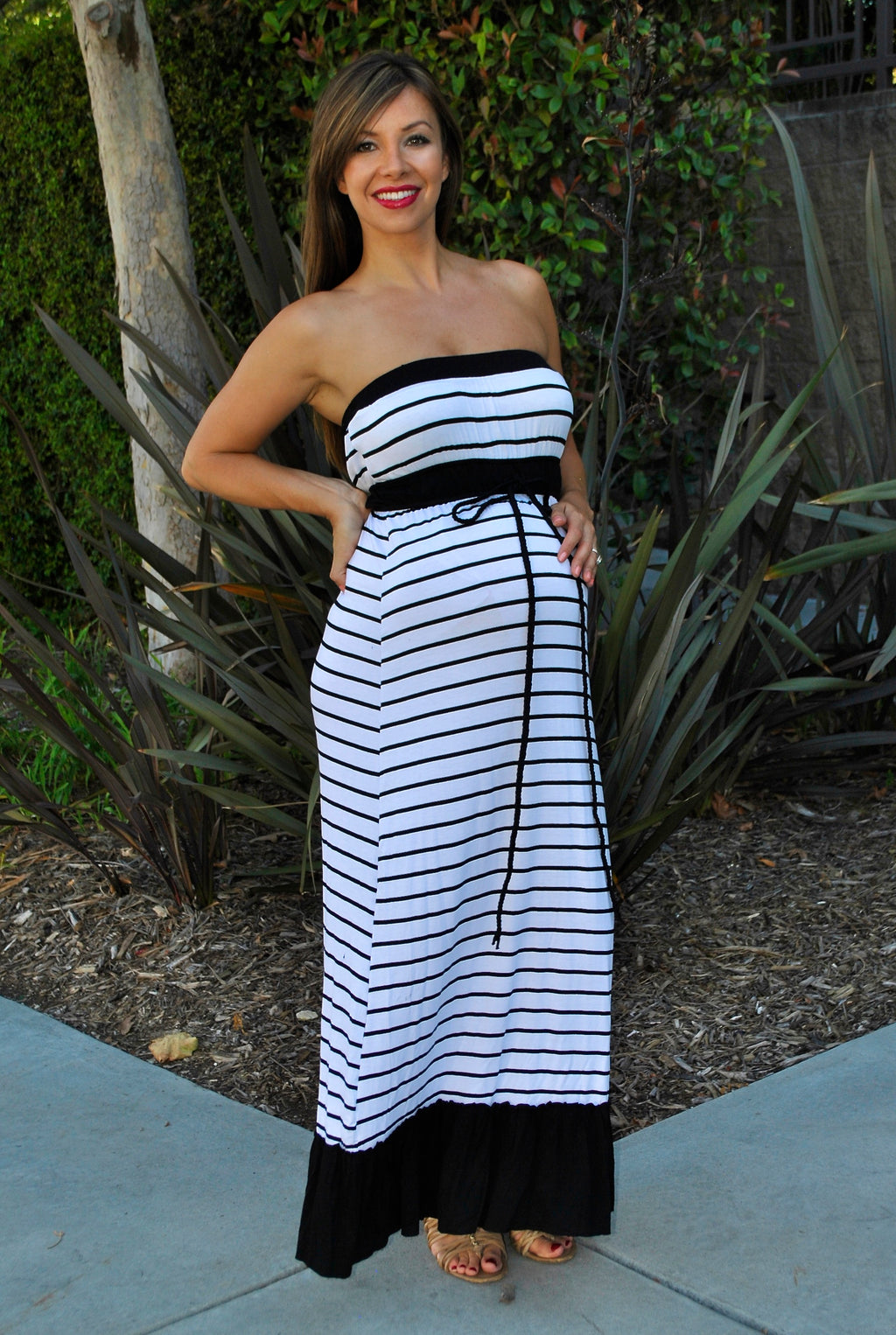Strapless Striped Maternity Maxi Dress
