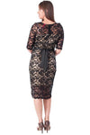 Floral Lace Maternity Dress Black/Taupe