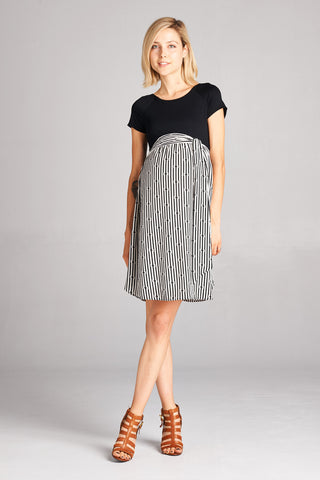 Pin Stripe To Win Maternity Dress