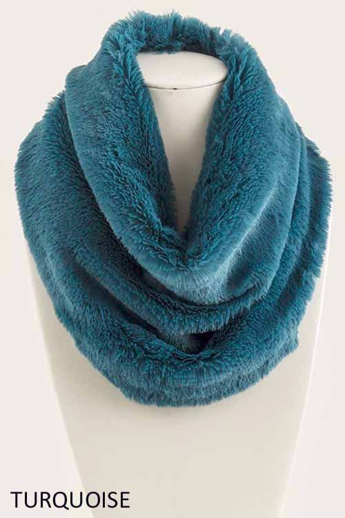 Turquoise Fuzzy Infinity Scarf