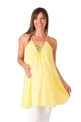 Neon Yellow Lace-Up Maternity Swing Tank