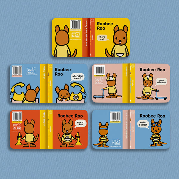 lay flat display technique to show front and back covers of children's book series, Roobee Roo