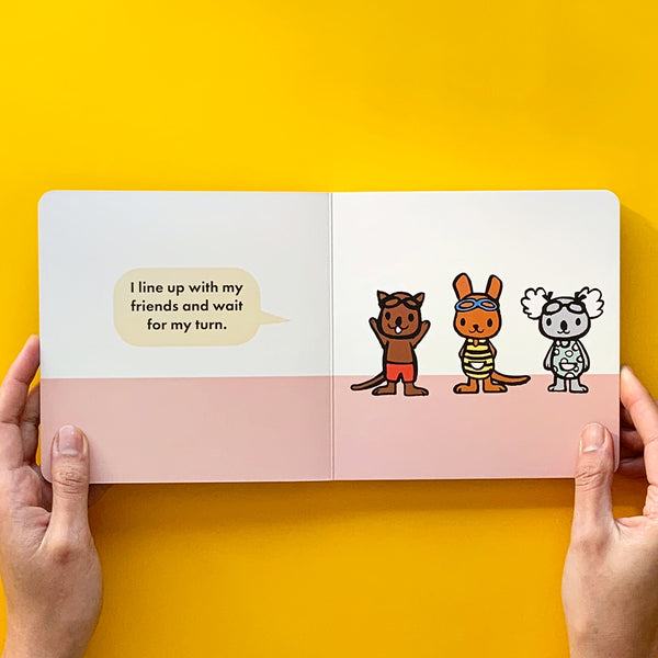 friends swimming picture book for young kids