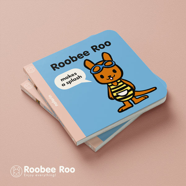 a young joey character wears a striped swimming costume and swimming goggles on the front cover of preschool boardbook series, Roobee Roo