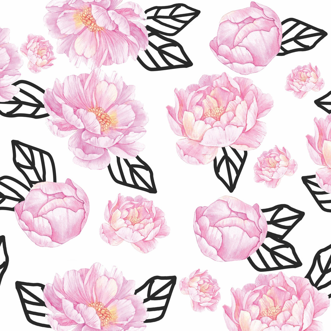 Graphic Peony Charger (ENLARGED TO SHOW DETAIL) - (SQUARE)