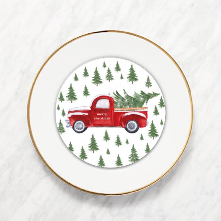 Red Christmas Truck Plate Accent