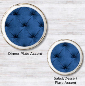Tufted Midnight Blue Plate Accent