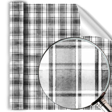Load image into Gallery viewer, Painted watercolor Plaid Black