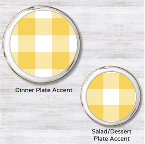 Gingham Yellow Plate Accent