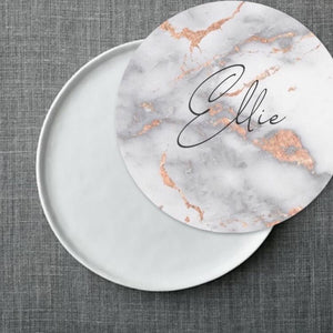 Metallic Rose Gold Marble Plate Accent