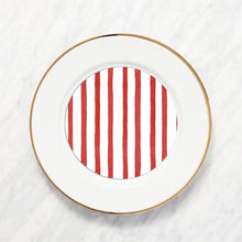 Load image into Gallery viewer, Red Painted Stripe Plate Accent