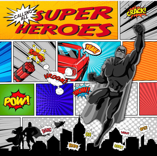 Calling all Superheroes Charger (ENLARGED TO SHOW DETAIL) - (SQUARE)
