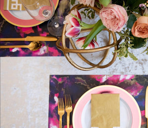 Swirl Pink - Black - Placemat