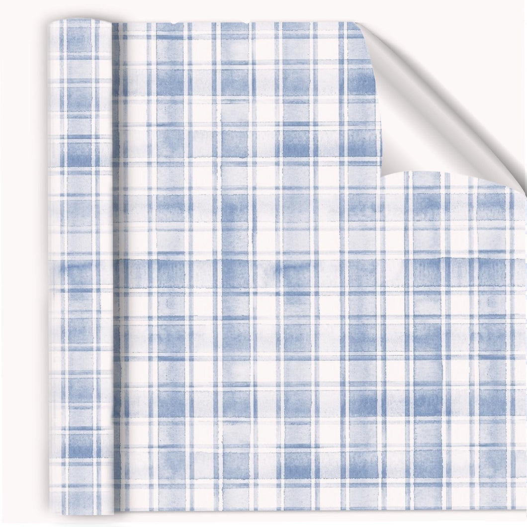 Painted watercolor Plaid Blue