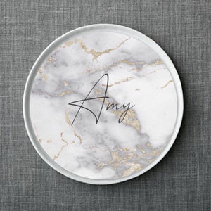 Metallic Gold Marble Plate Accent