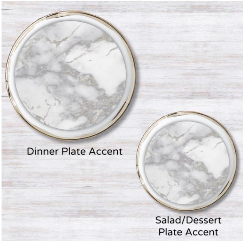Metallic Silver Marble Guild Plate Accent