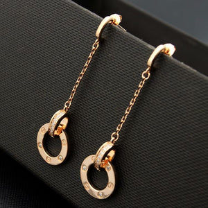 S/Steel Rose Gold / White Gold Plated Long Earrings with Swarovski Crystals