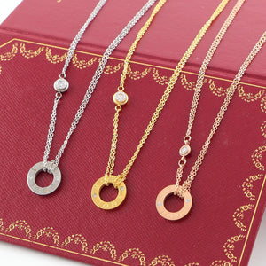 S/Steel Rose Gold / White Gold / Yellow Gold Plated Love Necklace with Swarovski Crystals