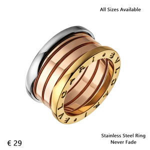 Stainless Steel 3 Tone Yellow White Rose Gold Plated Ring