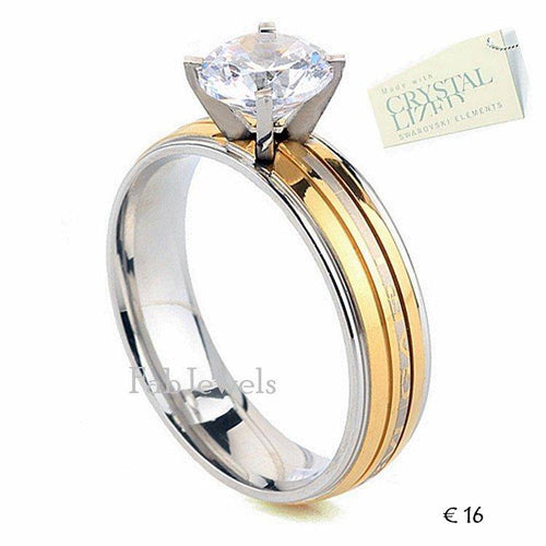 Stainless Steel 316L Solitaire Ring with Swarovski Crystal Never Fade