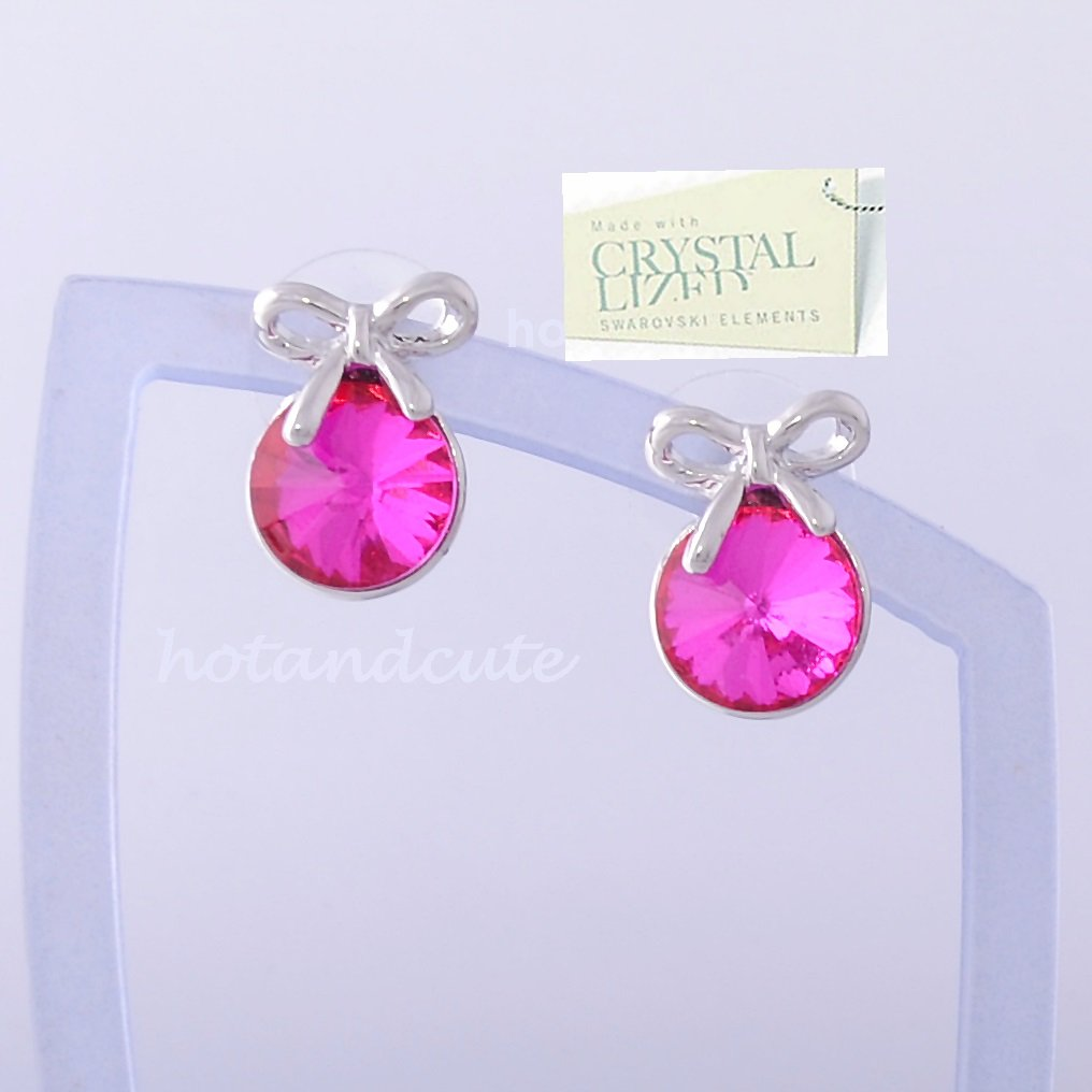 18K GOLD PLATED EARRINGS WITH Pink SWAROVSKI CRYSTALS