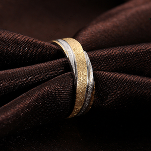 Stunning Stainless Steel Yellow Gold Plated Frosted Ring