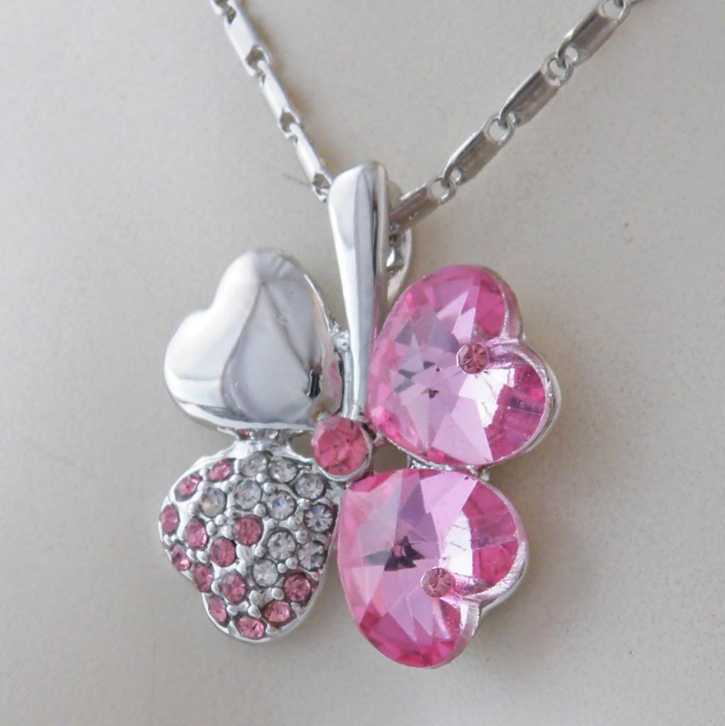 Swarovski Crystal Heart Flower Shape Pink Pendant and Necklace