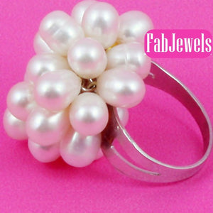 Fabulous Natural Fresh Water Pearls Adjustable Stainless Steel Ring