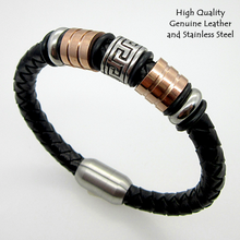 Load image into Gallery viewer, High Quality Genuine Leather and Stainless Steel Bracelet.
