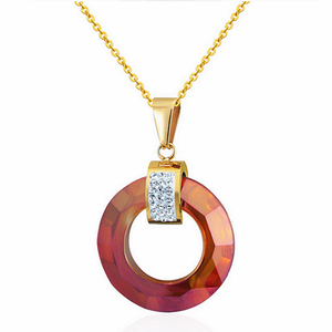 Stunning Stainless Steel Swarovski Crystals Yellow Gold Plated Necklace